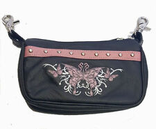 Leather Belt Bag Hip Clip Purse Studded Biker Pink Tribal Butterfly Motorcycle