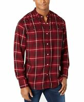 INC NEW Red Mens XS Star Studded Button Down Windowpane Plaid Shirt $65 #176