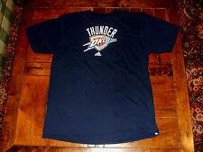 Oklahoma City Thunder adidas XL T-Shirt Navy Blue NBA Go-To Tee EXC 100% Cotton