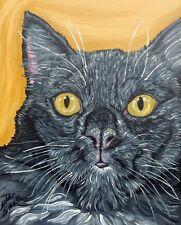 Black Kitty Pet Cat Art Original 8 x 10 Deep Set Canvas Painting-Carla Smale