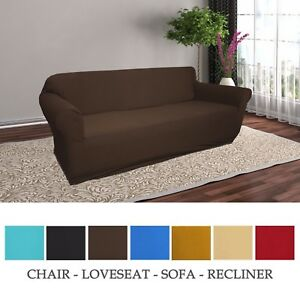 JERSEY KNITTED STRETCH SLIPCOVER, CHAIR, LOVE SEAT, SOFA, RECLINER, SOLID COLORS