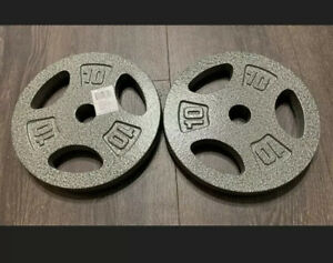 """10 lb Set 2 Standard Barbell Weight Plates 20 Pound Total 1"""" Inch CAP Ships Fast"""