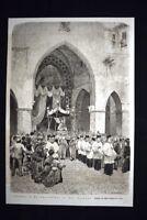 Napoli - La processione di San Gennaro Incisione del 1876