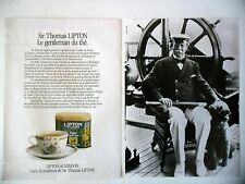 PUBLICITE-ADVERTISING :  LIPTON Finest Earl grey [2pages] 1990 Thé,Bateau,Erin