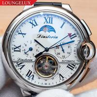 NEW Mens Flywheel Leather Luxury Bling Skeleton Automatic Mechanical Wrist Watch