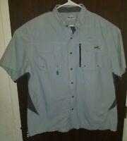 Natural Gear Mens Button Front Shirt XL Light Gray Short Sleeve Outdoor Work EUC