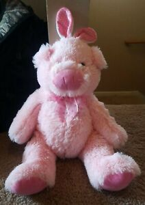 """Pink Pig Hog Plush Curly Tail Hot Pink Bow Dan Dee Collectors Choice Toy 10"""""""
