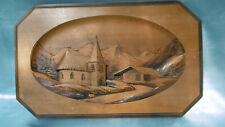 tableau scupté village de montagne en bois signé cleal