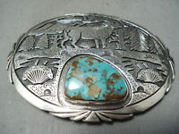 MAGNIFICENT TOM CHARLEY VINTAGE NAVAJO ROYSTON STERLING SILVER HUGE BUCKLE