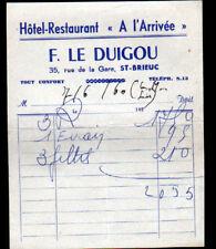 """SAINT-BRIEUC (22) HOTEL RESTAURANT """"A L'ARRIVEE / F. LE DUIGOU Proprio"""" en 1960"""