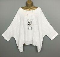 NEW Italian Top White Crinkle Loose Arty Lagenlook Womens UK Plus Size 16 18 20