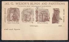 1890s Wilson's Blinds & Partitions Advertising Postal Card - Unused UY3 Reply