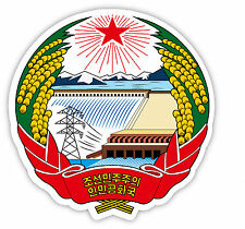 Corea del Nord North Korea stemma coat of arms etichetta sticker 12cm x 11cm