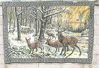 Mid Century Wall Art Hanging Tapestry Deer/Elk Family In The Woods 6'X4' Vintage