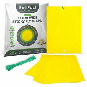 Yellow Sticky Fly Traps — 20 Pack | Trap for Fruit Flies, Fungus Gnats and More