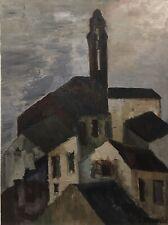 Tableau Peinture 20ème XXème Dumoulin Vue des Toits Expressionnisme Paysage Rare