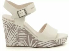 ✨ Clarks ✨UK 7.5 ORLEANS JAZZ COTTON CREAM LEATHER WEDGE SANDALS 41.5EU New