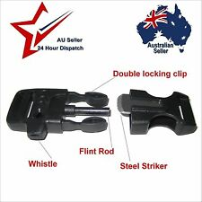 Buckle for Paracord Survival Bracelet, whistle flint fire starter  survival tool