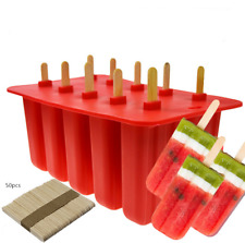 10 Cell Frozen Ice Cream Pop Mold Popsicle Maker Lolly Mould Ice Tray +50 Sticks