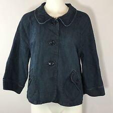 Style Co Jean Jacket Womens XL 1X Denim Coat Blue Button Down Lightweight