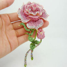 Crystal Rose Bud Gold-tone Pink Badge Brooch Pin Fashion Women Jewelry Wedding