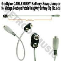 Godlyke CABLE GREY 9V Battery Snap Jumper Adapter for Pedals with No Power Jack