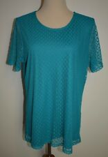New Christoper Banks XL Shirt Short Sleeve Layered Lace Sheer Polka Dot Teal Top