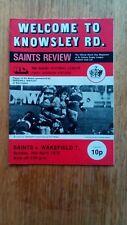 Rugby League programme St Helens Saints v Wakefield Trinity 1st Div. 2/4/1978