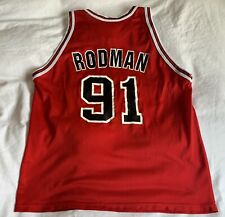 VINTAGE CHAMPION DENNIS RODMAN #91 CHICAGO BULLS RED JERSEY MEN'S SIZE LARGE 48