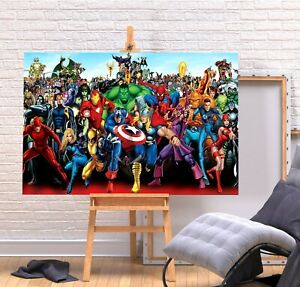 MARVEL SUPERHEROES- WALL ART PICTURE PRINT  DEEP FRAMED CANVAS SUPERHERO COMIC