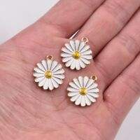 10PC White Enamel Chrysanthemum Flower Charms Pendant 20*18MM For DIY Jewelry