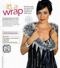 KNITTING PATTERN LADIES 27 x 78/83cm FAUX FUR WRAP QUICK EASY TIE-UP LKM M12A