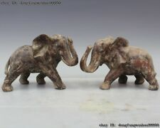 China Royal Palace Dynasty FengShui Old Bronze Auspicious Elephant Statue A Pair