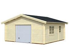 Garage Roger 19 Blockhaus Holzhaus Gartenhaus 560 x 560 cm 70 mm mit Schwingtor