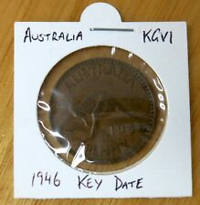 Australian 1946 George VI Bronze One Penny Scarce Key Date Coin