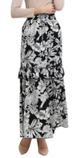 $80 Poplook Black White Floral Leaf Ruffle Tiered Long Maxi Skirt L M 8 10