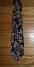 3377t NIB Black Teal Purple Tan Flowers CROFT & BARROW Floral Silk Tie!