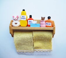 Dolls House Miniature 1:12th Scale Bathroom Shelf With Yellow Towels