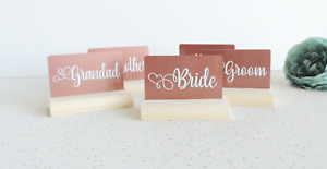 wedding place card holders, wooden name stands, wedding guests table, place card