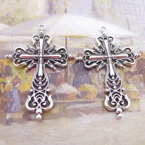 2pcs 43*64mm Big Cross Charms Tibetan silver Pendants Antique Jewelry Making