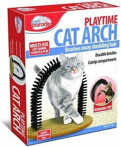 Self-Grooming Playtime Cat Arch - With hanging Toy Helps Prevent Shedding NEW