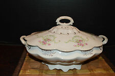 Vintage Footed Covered Casserole Dish C P Co Dixie Pink Floral Design Gold Trim