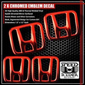 "2x 2/"" 3D Logo Emblem Decal Fairing//Gas Tank Sticker for Honda Black+Chromed Red"