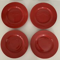 Set of (4) PIER 1 Salad Plates LUMINOUS RED Porcelain Christmas Holiday NWT