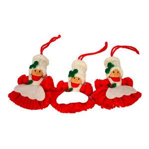 Vintage Mrs Santa Claus Yarn Christmas Ornaments