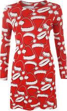 Womens Long Sleeve Xmas Christmas Santa Hat Festive Print Ladies Swing Dress Red 12-14