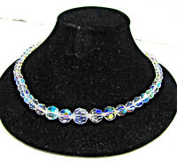 Vintage AB Glass Crystal Aurora Borealis Faceted Bead Necklace