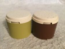 "Vintage Tupperware HARVEST Stack Spice Shakers  #1308. Brown Green.  2 1/4"" Tall"