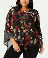 Alfani Women's Plus SIZE Black Floral Printed Angel Sleeve Tie-Front Top 0X - 3X
