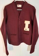 Vtg University Of Idaho 50's Rare Letterman Maroon L/S Wool Knit Sweatshirt Sz M